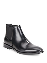 Kenneth Cole Hot Ticket Leather Slip On Boots Black