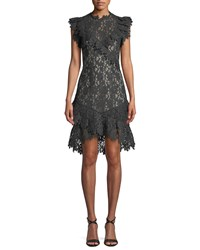 Saylor Mollie Painted Lace Cocktail Dress Black
