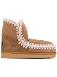 Mou Eskimo Boots Women Suede Sheep Skin Shearling Rubber 37 Brown