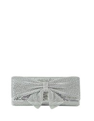 Jessica Mcclintock Metal Embellished Clutch With Bow Accent Silver