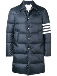 Thom Browne 4 Bar Matte Nylon Bal Collar Overcoat Blue