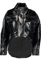Opening Ceremony Glossed Faux Leather Jacket Black
