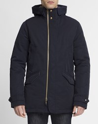 Scotch And Soda Navy Blue Nylon Plume Parka