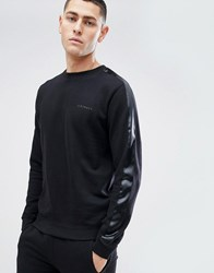 D Struct Crew Neck Sweat With Satin Arm Stripe Black