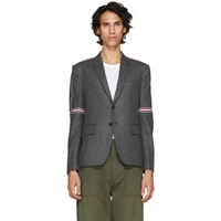 Thom Browne Grey Elastic Stripe Seamed Armhole Single Breasted Blazer