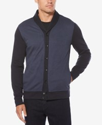 Perry Ellis Men's Birdseye Shawl Collar Cardigan Dark Sapphire