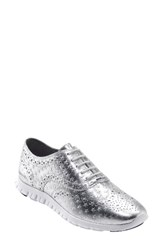 Cole Haan Women's 'Zerogrand' Perforated Wingtip Optic White Embossed Leather