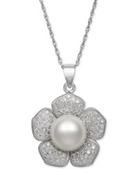 Macy's Cultured Freshwater Pearl 10Mm And Cubic Zirconia Flower Pendant Necklace In Sterling Silver