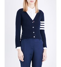 Thom Browne Stripe Detail Cashmere Cardigan Navy