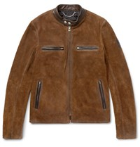 Belstaff Landrake Leather Trimmed Suede Blouson Jacket Tan