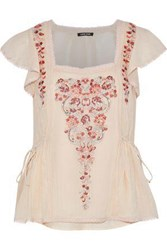 Love Sam Embellished Cotton Gauze Top Peach