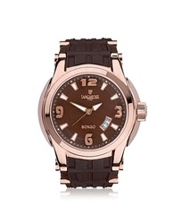 Lancaster Bongo Tempo Stainless Steel Men's Watch W Rubber Strap Rose Gold Brown