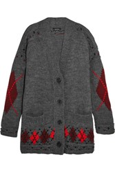 Isabel Marant Geena Oversized Argyle Wool And Alpaca Blend Cardigan Gray