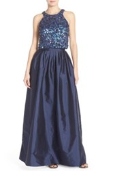 Adrianna Papell Embellished Two Piece Ballgown Regular And Petite Blue