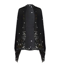 Jenny Packham Floral Embroidered Shawl Female Blue