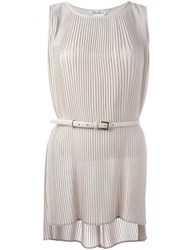 Max Mara Pleated Tank Top Nude And Neutrals