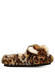 Dolce And Gabbana 30Mm Faux Fur Leopard Slide Sandals