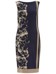 Gina Bacconi Stripe Rose Jersey Dress Navy