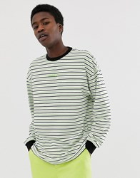 Fairplay Arden Long Sleeve Striped T Shirt With Chest Logo In Neon Green