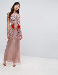Naanaa Fishtail Maxi Dress With Lace Applique Nude Beige