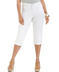 Styleandco. Style And Co. Plus Size Tummy Control Capri Jeans Bright White