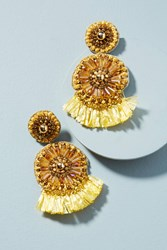 Anthropologie Sunshine Raffia Drop Earrings Yellow Motif