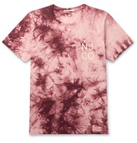 Nudie Jeans Roy Logo Print Tie Dyed Cotton Jersey Pink
