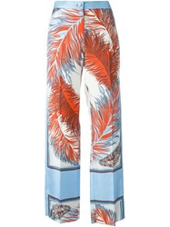 Emilio Pucci Feather Print Trousers Blue