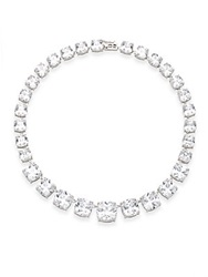 Cz By Kenneth Jay Lane Graduated Cushion Necklace Silver
