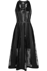 Christopher Kane Faux Leather And Lace Midi Dress Black