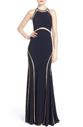 Xscape Evenings Women's Illusion Inset Jersey Gown