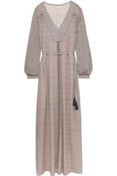 Tory Burch Elodie Printed Silk Georgette Maxi Dress Taupe