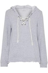 Splendid Lace Up French Cotton Terry Hoodie Light Gray