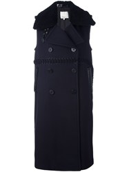 3.1 Phillip Lim Sleeveless Shearling Collar Coat Blue