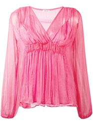 P.A.R.O.S.H. Ruched V Neck Top Women Silk Polyester M Pink Purple