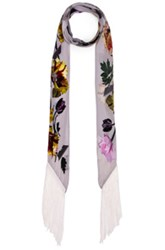 Rockins Flora Classic Skinny Fringe Scarf In White Floral White Floral