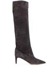 Red Valentino Knee High Pointed Boots Grey