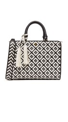 Tory Burch Robinson Woven Quilted Small Zip Satchel Black New Ivory