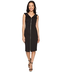 Calvin Klein Zipper Front Sheath Dress Cd7m1e8u Black Women's Dress