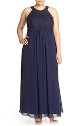 Plus Size Women's Eliza J Halter Style Lace And Chiffon Gown