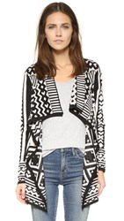 La Fee Verte Blanket Drape Cardigan Black Cream