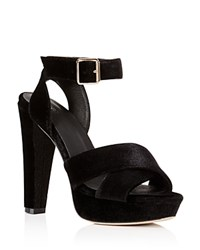 Raye Heaton Velvet Platform High Heel Sandals Black
