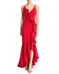 Marchesa Cascading Ruffle High Low Gown In Crepe Red