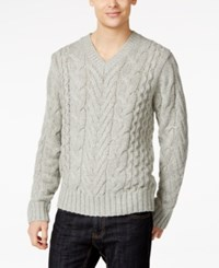 Dkny Jeans Lux Cable Knit V Neck Sweater Heather Grey