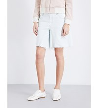 Maison Martin Margiela Mm6 Wide Leg Mid Rise Denim Shorts Spec Bleached Wash
