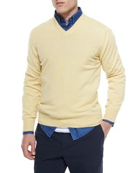 Brunello Cucinelli Cashmere V Neck Sweater Yellow