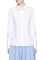 Rosie Assoulin Asymmetric French Cuff Chambray Shirt White