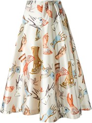 Rochas Gloves Allover Print Flared Skirt Nude And Neutrals