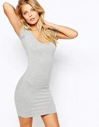 Asos Scoop Front And Back Bodycon Mini Dress Gray Marl
