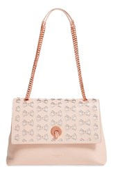 Ted Baker London Leather Shoulder Bag Beige Straw